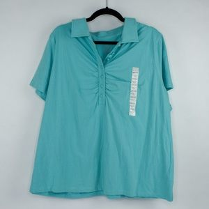 Merona Half Button Up Aqua Blue Polo